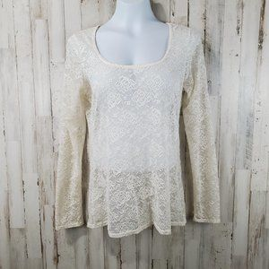 Roper Womens Top M Cream Lace Long Sleeve Stretch